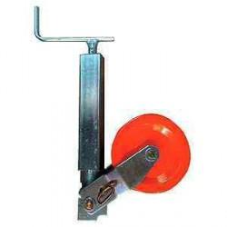 Roue jockey renforcée carré de 70 avec galet acier 250x100 mm pour caravane et remorque