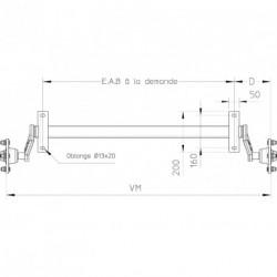 Essieu remorque non freiné PTC: 500Kg 4T130 (EAB à la demande)