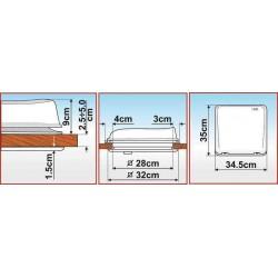 Lanterneau crystal Fiamma Vent 28x28cm pour camping-car et caravane