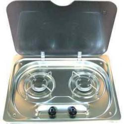 Plan de cuisson encastrable Inox 2 feux avec couvercle