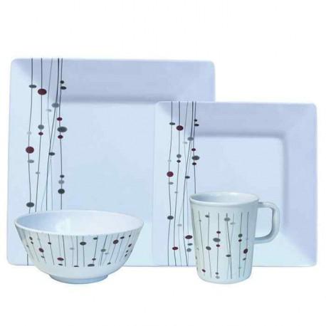 Set vaisselle Linea 16 pièces pour camping car et caravane
