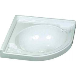 Vasque blanche d'angle 430x430x130mm pour caravane et camping-car