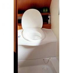 WC cassette blanc avec réservoir d'eau propre portillon blanc sortie gauche pour caravane et camping-car