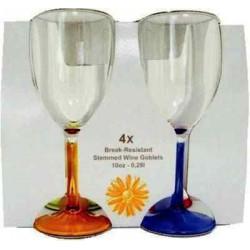 Lots de 4 verres acrylique 29cl avec pied couleur