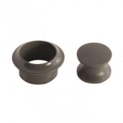 Rosace et bouton gris pour serrure à poussoir
